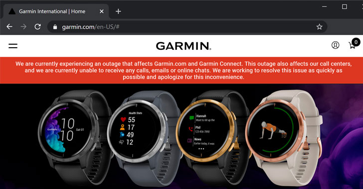 Smartwatch Maker Garmin Shuts Down Solutions Immediately After Ransomware Attack