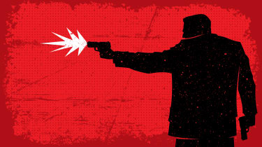 A silhouette of a man shooting a gun on a red background