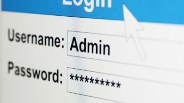 Login screen showing an admin user and a hidden password