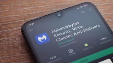 MalwareBytes antivirus software on a smartphone