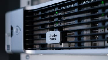Close up Cisco logo on a UCS C240 M4 server in a data centre