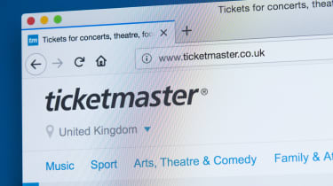The Ticketmaster website in a web browser window as seen on a computer screen