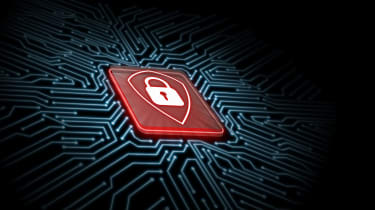 A symbol of a white padlock inside the outline of a shield on a red microchip