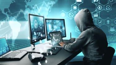 Hacker behind screen
