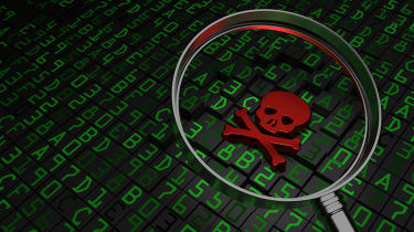 Red skull and crossbones atop binary code