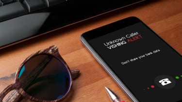 Vishing alert on a smartphone