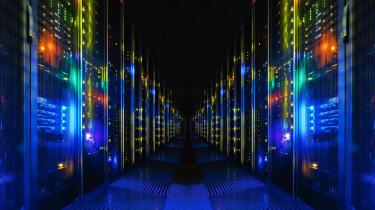 A server corridor for a supercomputer installation