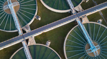 Aerial shot of a water treatment facility