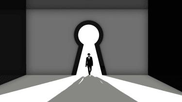 Figure walking through keyhole