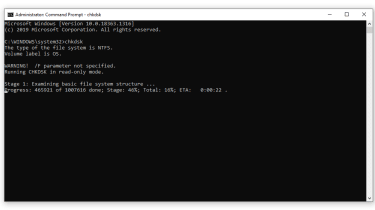 A screenshot of the chkdsk command being run on Command Prompt in Windows 10