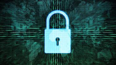 padlock on a binary code background