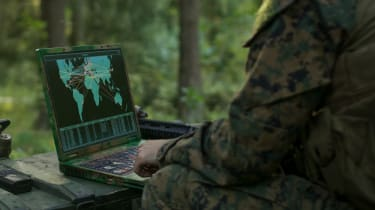 Military operative on a remote computer
