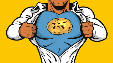 A cartoon superhero tearing open his shirt to reveal a cookie logo