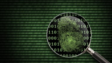 A magnifying glass searching code for fingerprints
