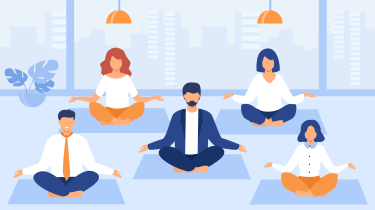 Illustration of office workers meditating