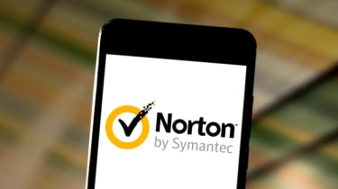 Norton antivirus logo displayed on a smartphone