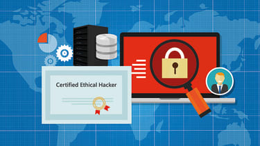 Security illustration with ethical hacker certificate