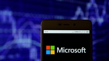 Microsoft logo on smartphone