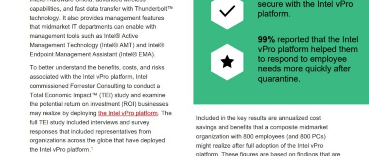 the total economic impact™ of the intel vpro® platform: spotlight