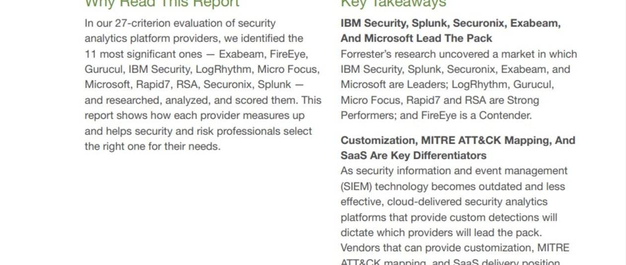 the forrester wave: top security analytics platforms